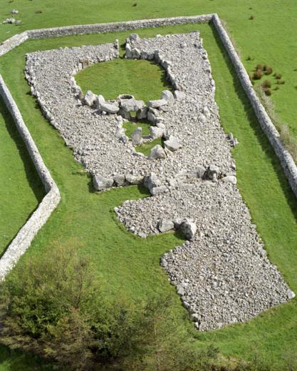 Aerial view of Creevykeel Court Tomb, Co. Sligo, Ireland