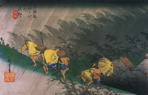 Hiroshige,Travellers surprised by sudden rain