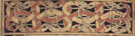 Detail of Biting Animals. In this detail the long bodies of snake-like or leg less creatures are intertwined with each  other and are biting their own tails.