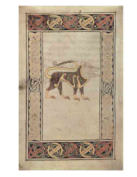 Lion- Symbol of St John, Book of Durrow
