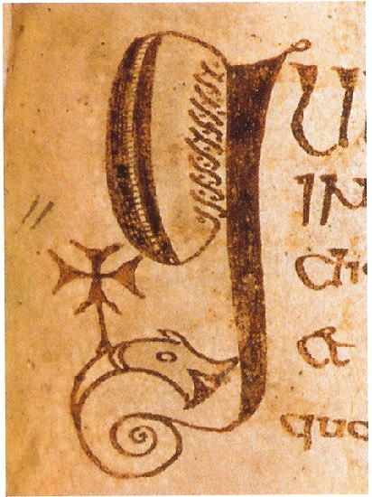 "Initial letter "" g"". Courtesy of the Royal Irish Academy. In this you can see the  Initial letters shows a fish or dolphin bearing a cross, a motif familiar in Coptic Egypt. This indicates that these early scribes had contact with  lands as far away as Egypt."