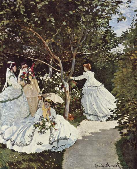 Claude Monet, Women in the Garden 1866-7. The effect of light and shade can be seen particularly in pale areas such as the womens dresses,  the unbrella and on the path.