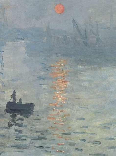 Detail of Impression ;Sunrise. You can see how thickly Monet has applied the paint in the reflections of the sun on the water. Monet uses orange and white  -side by side -and mixes them on the canvas.