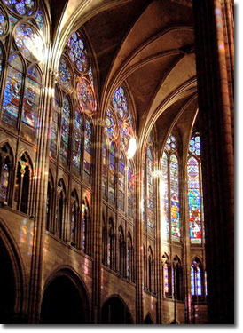Interior of St Denis, Paris . You can see the Clerestory and Triforium of Glass