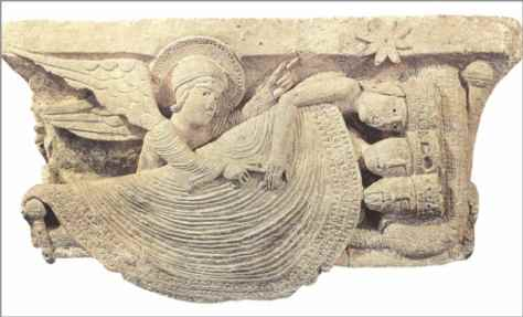 Gislebertus; The Dream of the Magi; This relief sculpture is careved into a capital in Autun Cathedral. It tells the story of the Three Wise Men being wakened by an angel and pointed in the direction of a star. Gislebertus in a very simple beautiful way shows us the kings asleep together wearing their crowns. One blanket sweeps over the three kings. He shows us the bed at such an angle that we can see all three kings. The angel is gently waking one of the kings by touching his hand and is pointing the way for the kings