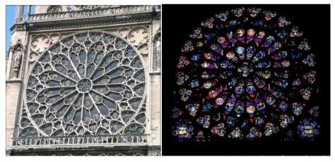 Rose Window; Notre Dame, Paris. View of the exterior and the interior.