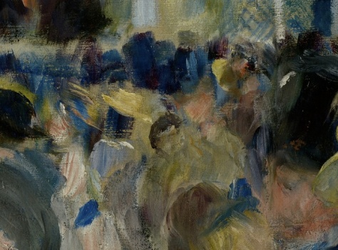 In the background Renoir works very loosely depicting individual figures with just a few brush stokes. We can make out the shapes of hats and dresses but very little else of details. There are barely faces to be seen and no features on the faces.