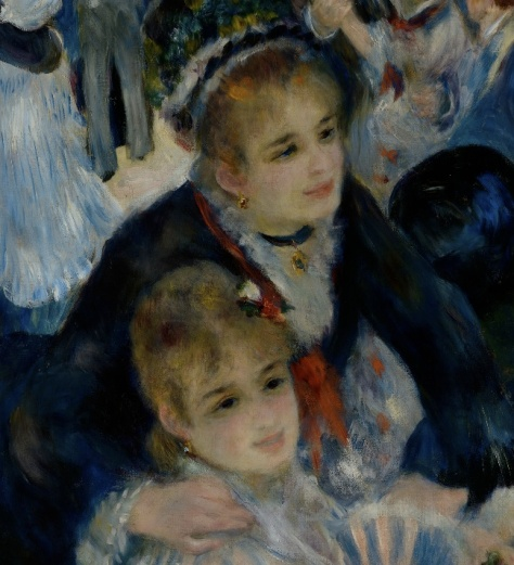 This is a scene from the foreground. You can see Renoir painted details such as eyelids and lashes as well as earrings and necklace details
