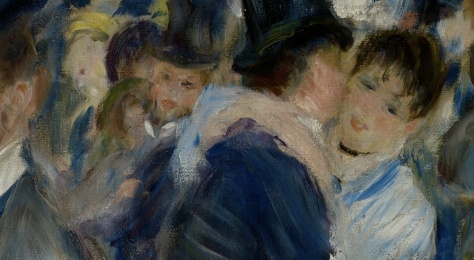In the middle ground Renoir begins to paint in broader strokes where details become lost - the eyes are reduced to being slits, the hands of the woman are painted so loosely the individual fingers are obliterated. Compare this to the foreground details above.